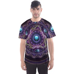 Beautiful Turquoise and Amethyst Fractal Jewelry Men s Sports Mesh Tee