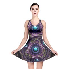 Beautiful Turquoise and Amethyst Fractal Jewelry Reversible Skater Dress