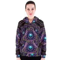 Beautiful Turquoise and Amethyst Fractal Jewelry Women s Zipper Hoodie