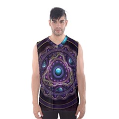 Beautiful Turquoise and Amethyst Fractal Jewelry Men s Basketball Tank Top