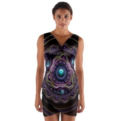 Beautiful Turquoise and Amethyst Fractal Jewelry Wrap Front Bodycon Dress