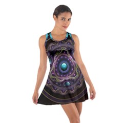 Beautiful Turquoise and Amethyst Fractal Jewelry Cotton Racerback Dress