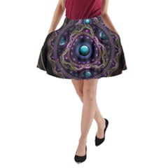 Beautiful Turquoise and Amethyst Fractal Jewelry A-Line Pocket Skirt