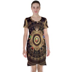 Gathering the Five Fractal Colors Of Magic Short Sleeve Nightdress