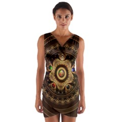 Gathering the Five Fractal Colors Of Magic Wrap Front Bodycon Dress
