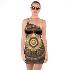 Gathering The Five Fractal Colors Of Magic One Soulder Bodycon Dress