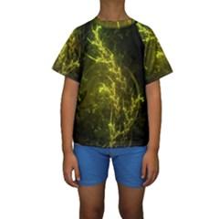 Beautiful Emerald Fairy Ferns in a Fractal Forest Kids  Short Sleeve Swimwear