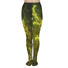 Beautiful Emerald Fairy Ferns in a Fractal Forest Women s Tights
