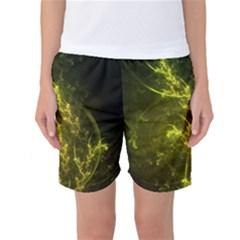 Beautiful Emerald Fairy Ferns in a Fractal Forest Women s Basketball Shorts