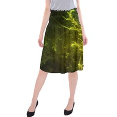 Beautiful Emerald Fairy Ferns in a Fractal Forest Midi Beach Skirt