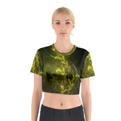 Beautiful Emerald Fairy Ferns In A Fractal Forest Cotton Crop Top