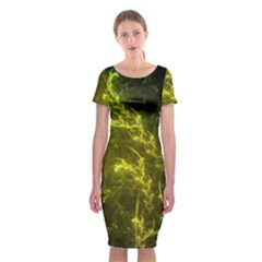 Beautiful Emerald Fairy Ferns in a Fractal Forest Classic Short Sleeve Midi Dress