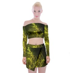 Beautiful Emerald Fairy Ferns In A Fractal Forest Off Shoulder Top With Skirt Set