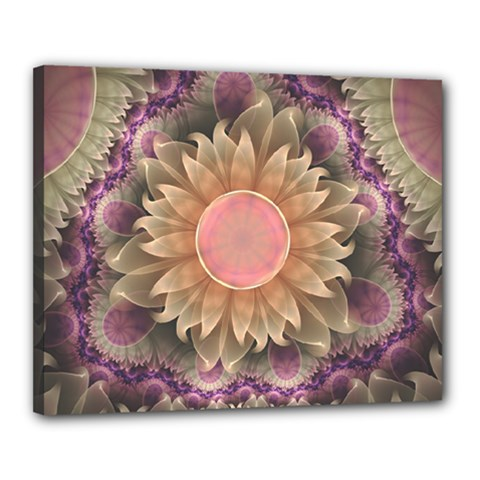 Pastel Pearl Lotus Garden of Fractal Dahlia Flowers Canvas 20  x 16