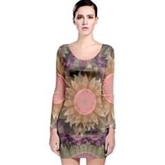 Pastel Pearl Lotus Garden of Fractal Dahlia Flowers Long Sleeve Bodycon Dress