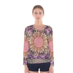 Pastel Pearl Lotus Garden Of Fractal Dahlia Flowers Women s Long Sleeve Tee
