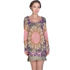 Pastel Pearl Lotus Garden of Fractal Dahlia Flowers Long Sleeve Nightdress