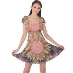 Pastel Pearl Lotus Garden of Fractal Dahlia Flowers Cap Sleeve Dresses
