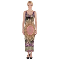Pastel Pearl Lotus Garden of Fractal Dahlia Flowers Fitted Maxi Dress