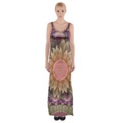 Pastel Pearl Lotus Garden of Fractal Dahlia Flowers Maxi Thigh Split Dress