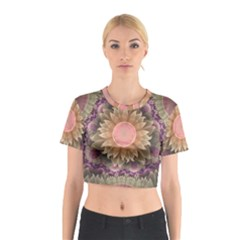 Pastel Pearl Lotus Garden of Fractal Dahlia Flowers Cotton Crop Top