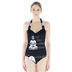Eat, sleep, meditate, repeat  Halter Swimsuit