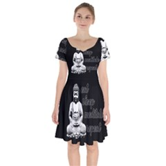 Eat, Sleep, Meditate, Repeat  Short Sleeve Bardot Dress