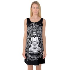 Ornate Buddha Sleeveless Satin Nightdress
