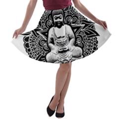 Ornate Buddha A-line Skater Skirt
