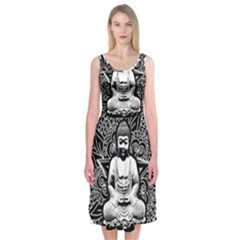 Ornate Buddha Midi Sleeveless Dress