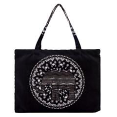 Ornate mandala elephant  Medium Zipper Tote Bag