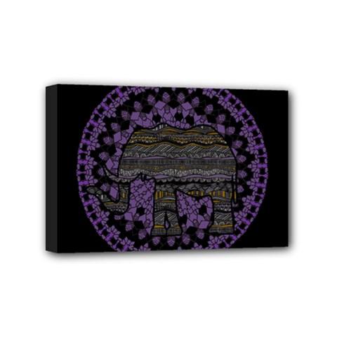 Ornate Mandala Elephant  Mini Canvas 6  X 4