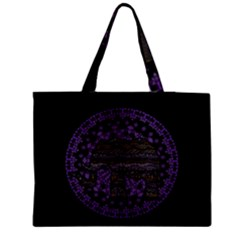 Ornate mandala elephant  Medium Zipper Tote Bag
