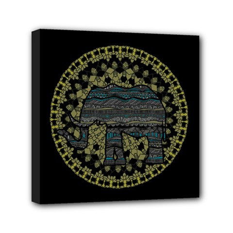 Ornate mandala elephant  Mini Canvas 6  x 6