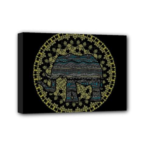 Ornate Mandala Elephant  Mini Canvas 7  X 5
