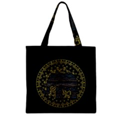 Ornate mandala elephant  Zipper Grocery Tote Bag
