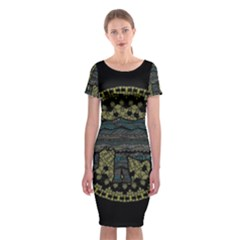 Ornate mandala elephant  Classic Short Sleeve Midi Dress