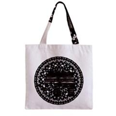 Ornate mandala elephant  Zipper Grocery Tote Bag