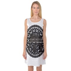 Ornate mandala elephant  Sleeveless Satin Nightdress