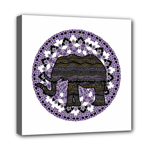 Ornate mandala elephant  Mini Canvas 8  x 8