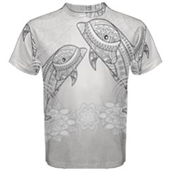 Beautiful Dolphin, Mandala Design Men s Cotton Tee