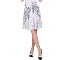 Beautiful Dolphin, Mandala Design A-Line Skirt