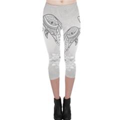 Beautiful Dolphin, Mandala Design Capri Leggings