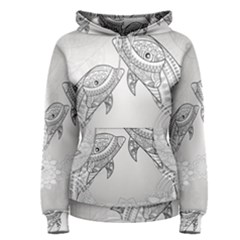 Beautiful Dolphin, Mandala Design Women s Pullover Hoodie