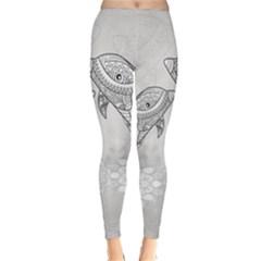 Beautiful Dolphin, Mandala Design Classic Winter Leggings