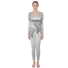 Beautiful Dolphin, Mandala Design Long Sleeve Catsuit