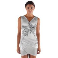 Beautiful Dolphin, Mandala Design Wrap Front Bodycon Dress