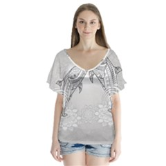 Beautiful Dolphin, Mandala Design Flutter Sleeve Top