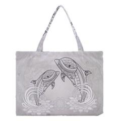 Beautiful Dolphin, Mandala Design Medium Tote Bag