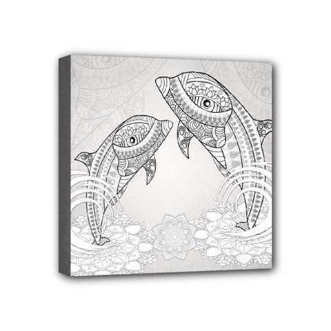 Beautiful Dolphin, Mandala Design Mini Canvas 4  x 4